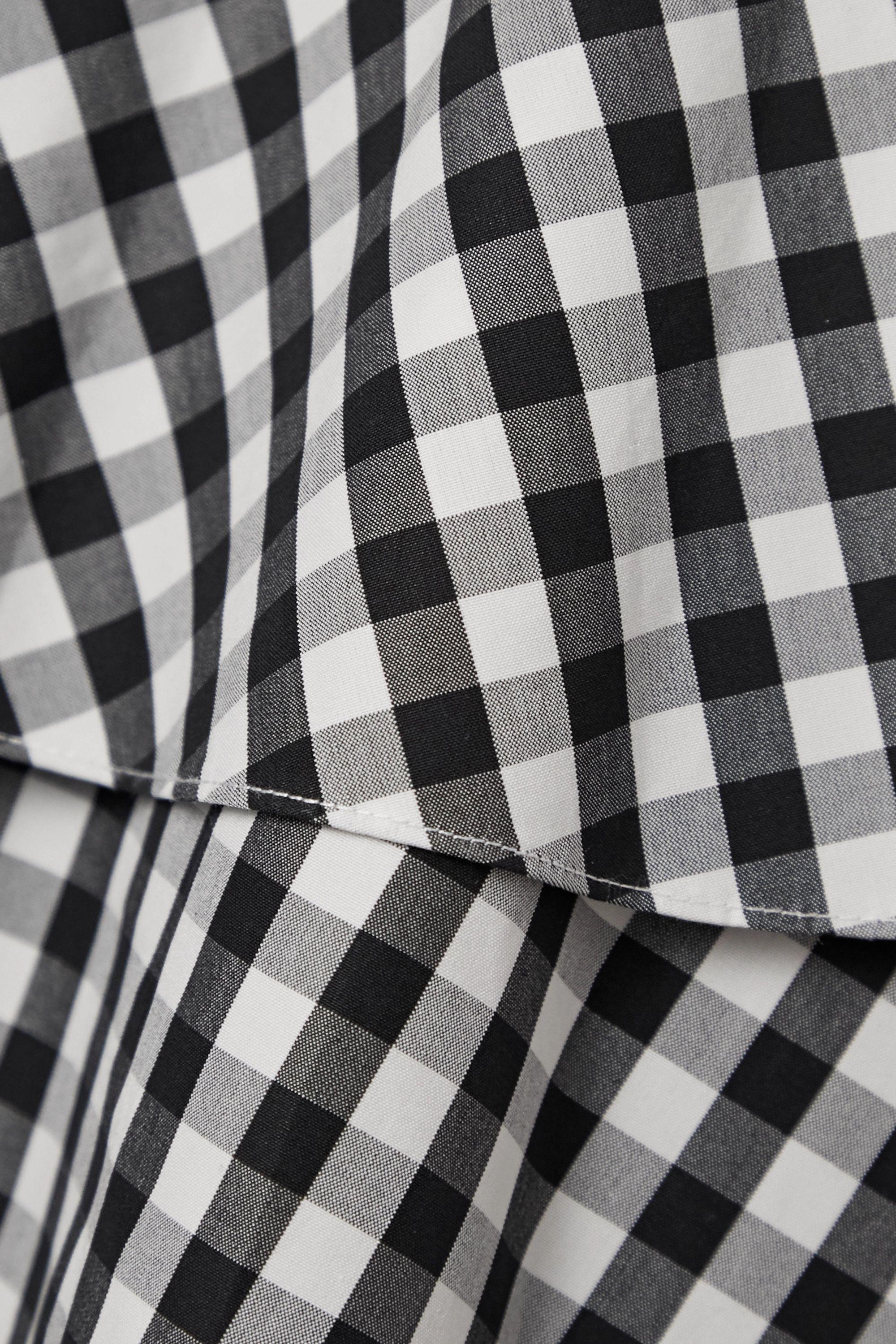 Michael Kors Collection Belted gingham cotton-poplin peplum shirt dress