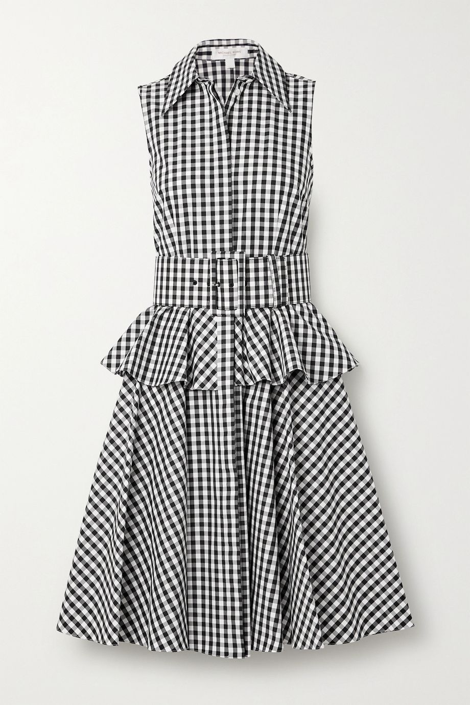Michael Kors Collection Belted gingham cotton-poplin peplum shirt dress