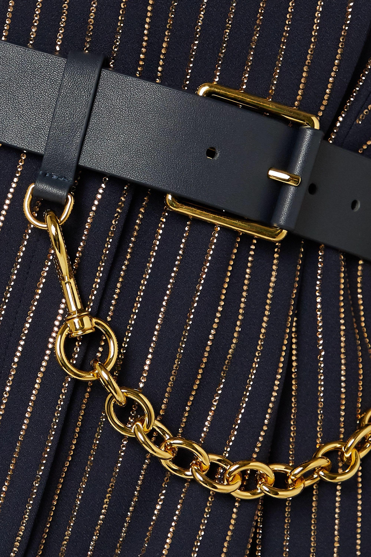 Michael Kors Collection Belted crystal-embellished crepe playsuit