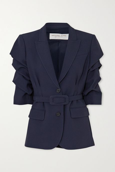 Midnight blue Belted gathered cady blazer | Michael Kors Collection 2Yrzw1