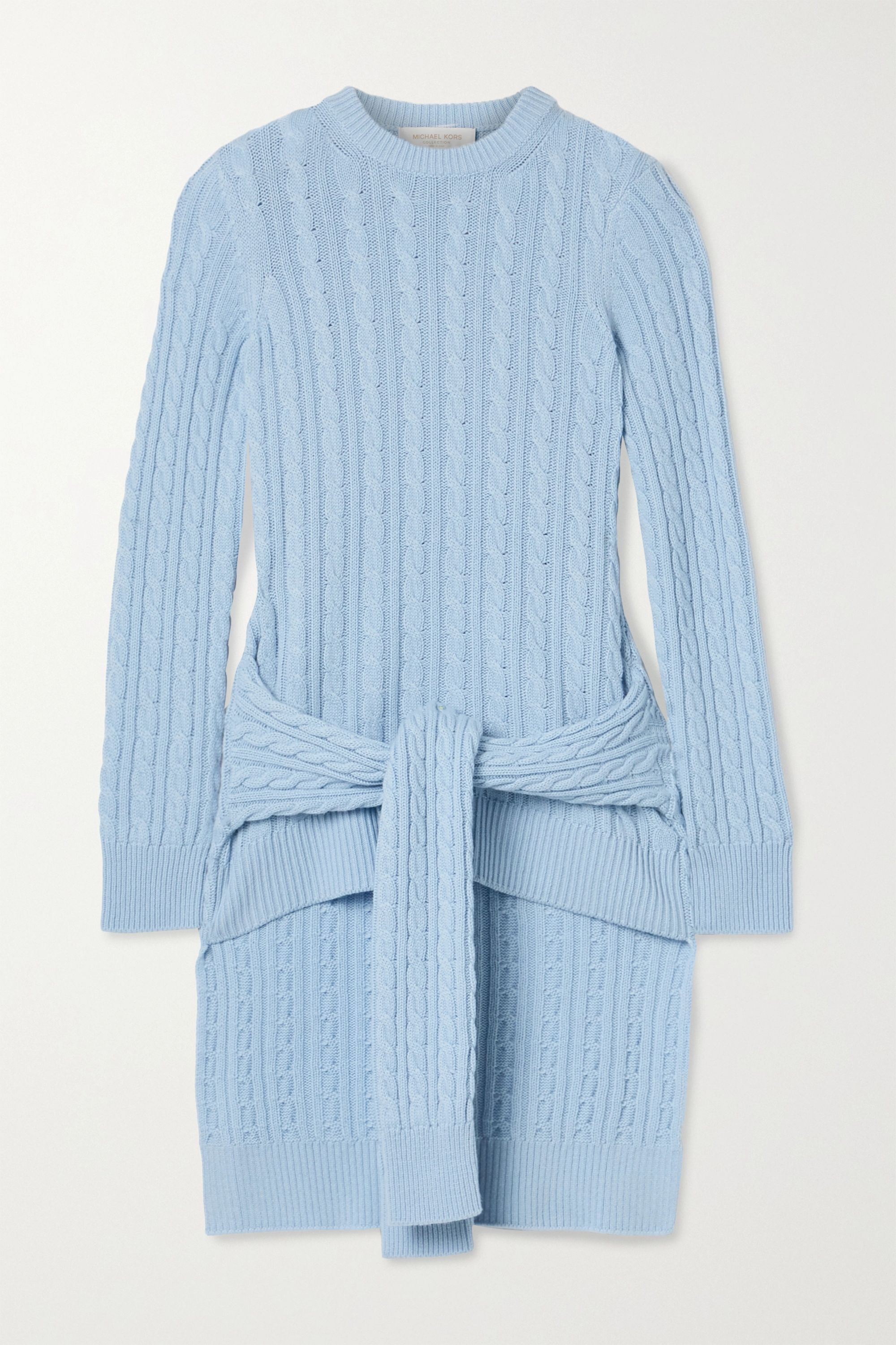 Tie detailed asymmetric cable knit cashmere sweater