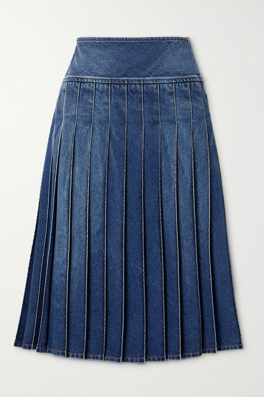 Michael Kors Collection Pleated denim midi skirt