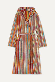 Jazz hooded striped cotton-terry robe