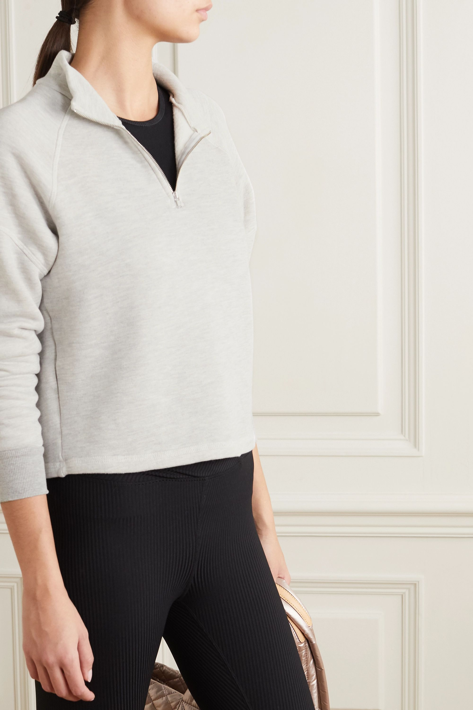 Year of Ours Vail cropped stretch-jersey sweatshirt
