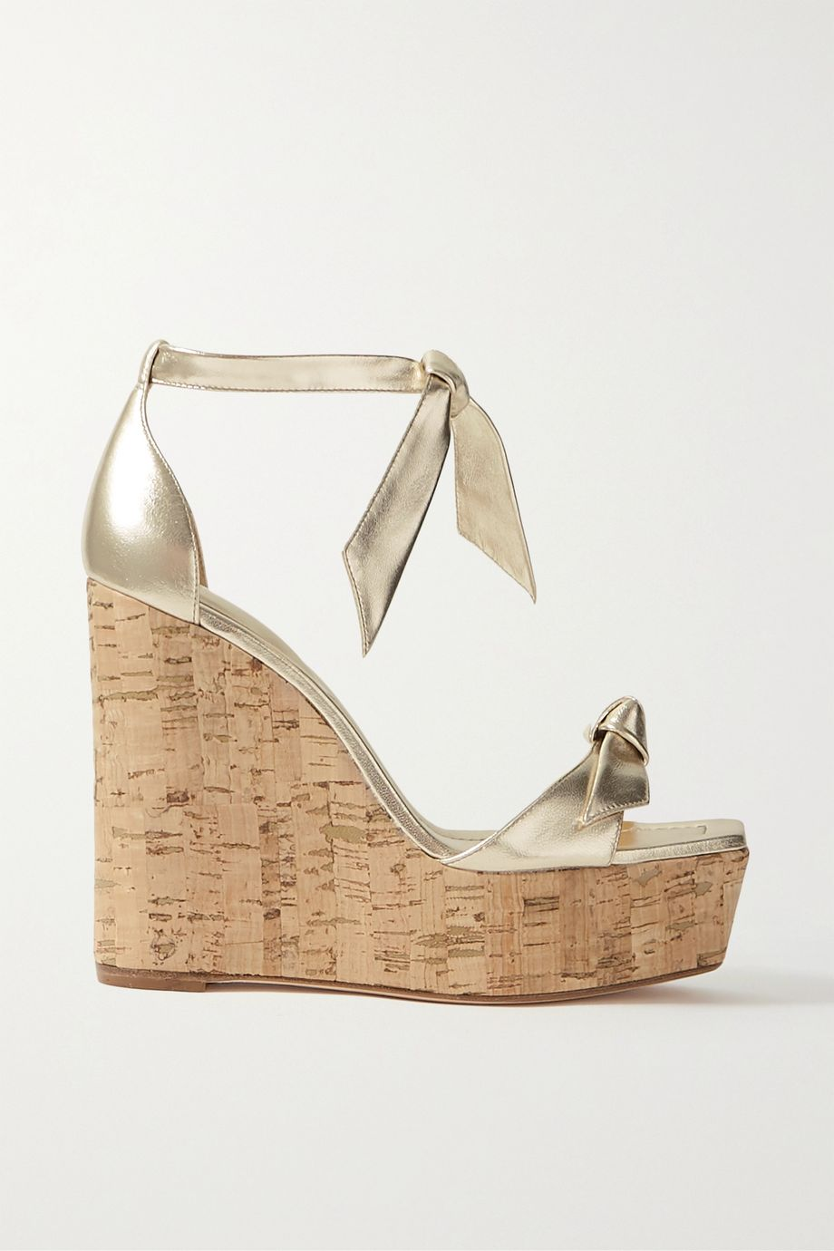 Alexandre Birman Clarita bow-embellished metallic leather wedge sandals