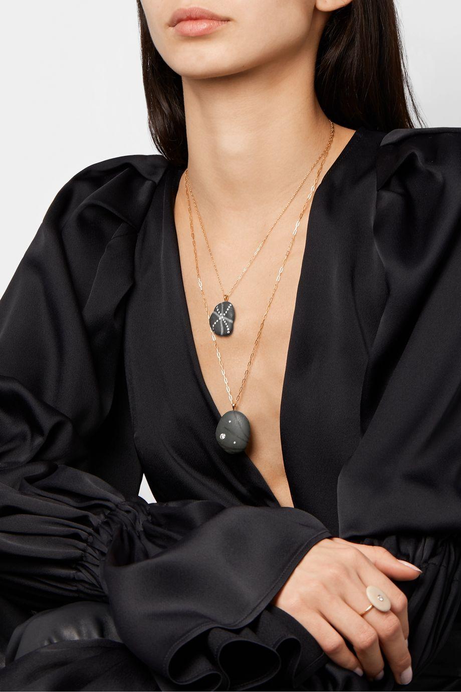 CVC Stones Thriller 18-karat gold, stone and diamond necklace