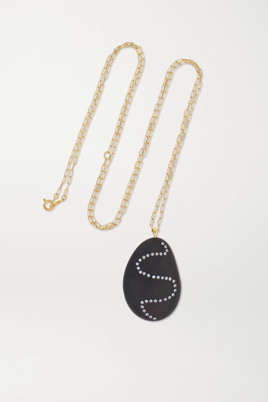 CVC Stones Collier en or 18 carats, galet et diamants Twisty