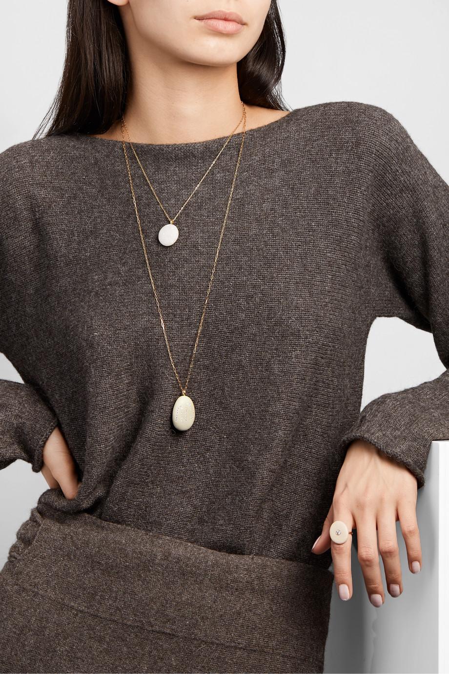 CVC Stones Billowing 18-karat gold, stone and diamond necklace