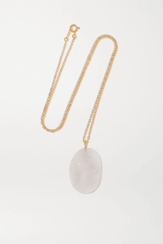 CVC Stones Collier en or 18 carats, galet et diamants Penta