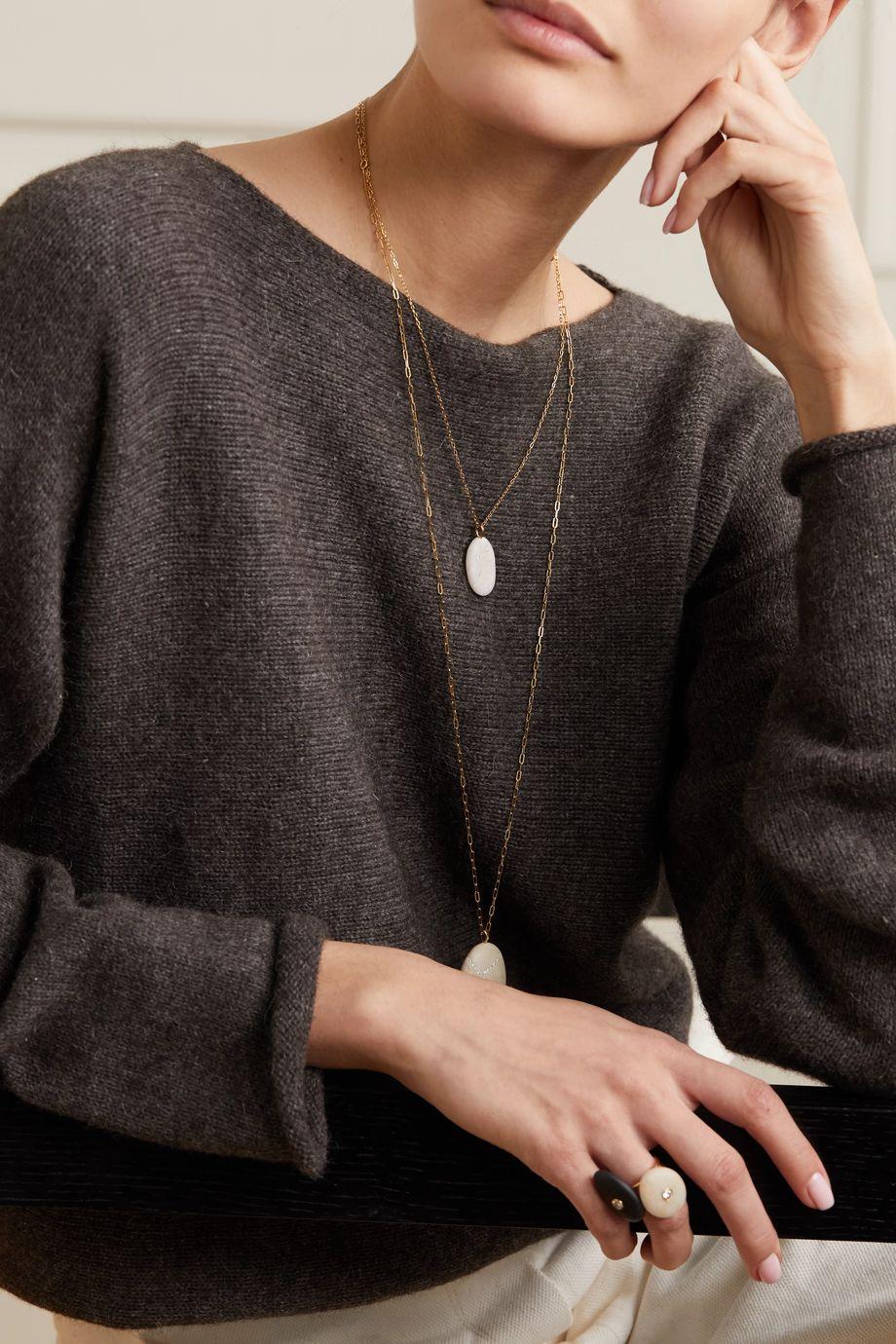 CVC Stones Penta 18-karat gold, stone and diamond necklace