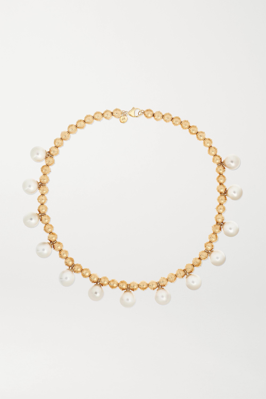 Marlo Laz Kette aus 14 Karat Gold mit Perlen