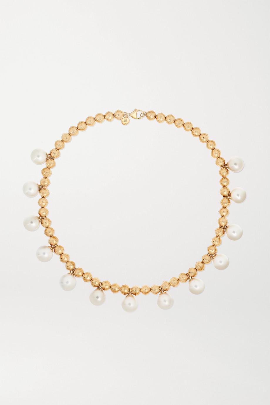 Marlo Laz Collier en or 14 carats et perles