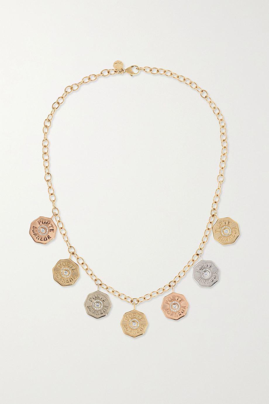 Marlo Laz Rhapsody 14-karat yellow, rose and white gold diamond necklace