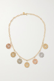 Marlo Laz Rhapsody 14-karat yellow, rose and white gold diamond necklace