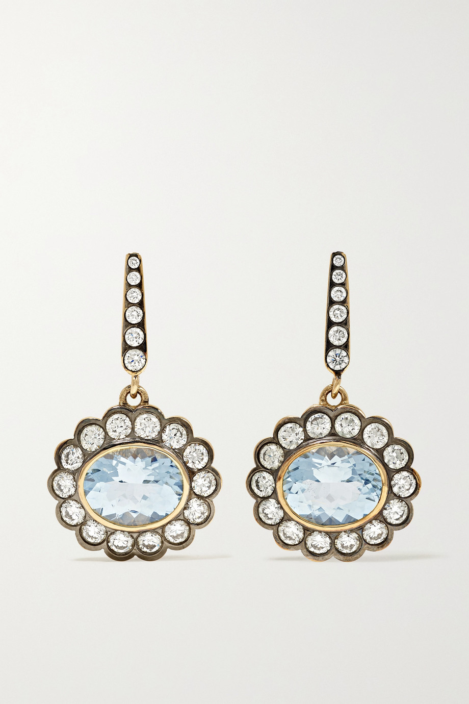 Marlo Laz Alexandra 14-karat gold, diamond and aquamarine earrings