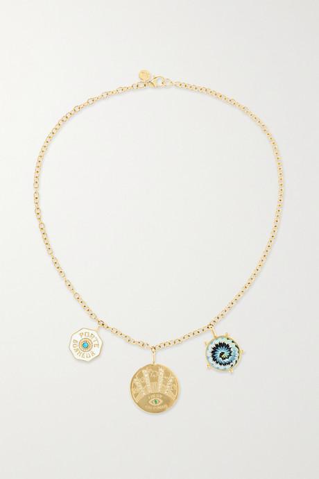 Gold Coin 14-karat gold multi-stone necklace | Marlo Laz QK13zH