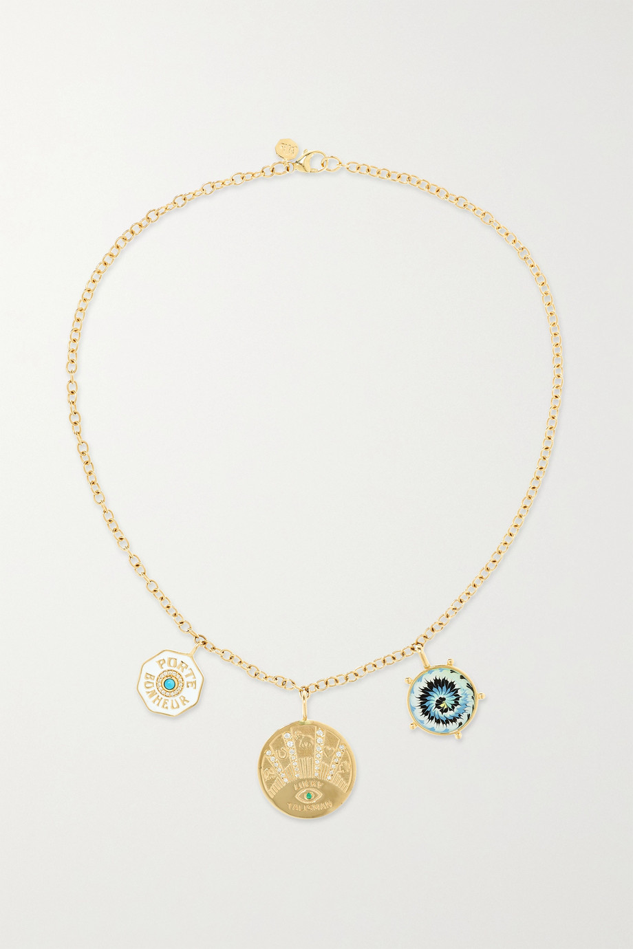 Marlo Laz Coin 14-karat gold multi-stone necklace