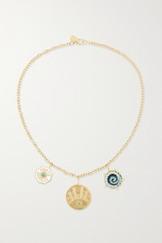 Coin 14-karat gold multi-stone necklace