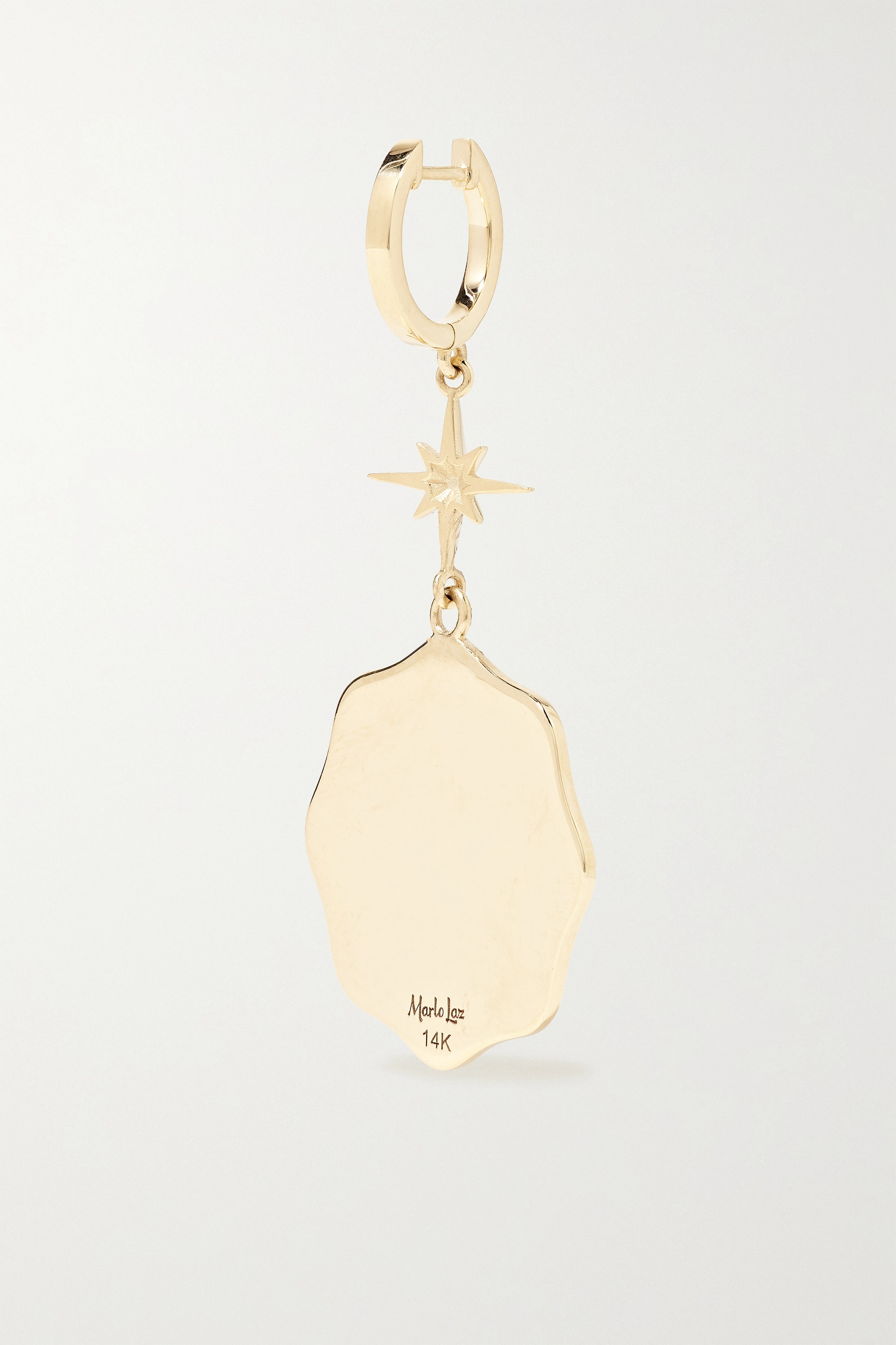 Marlo Laz Porte Bonheur Coin 14-karat gold, diamond and pearl earrings