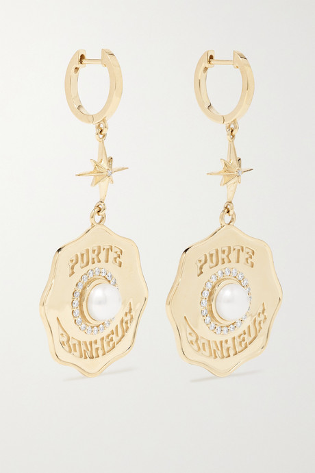 Gold Porte Bonheur Coin 14-karat gold, diamond and pearl earrings | Marlo Laz JKKRgL