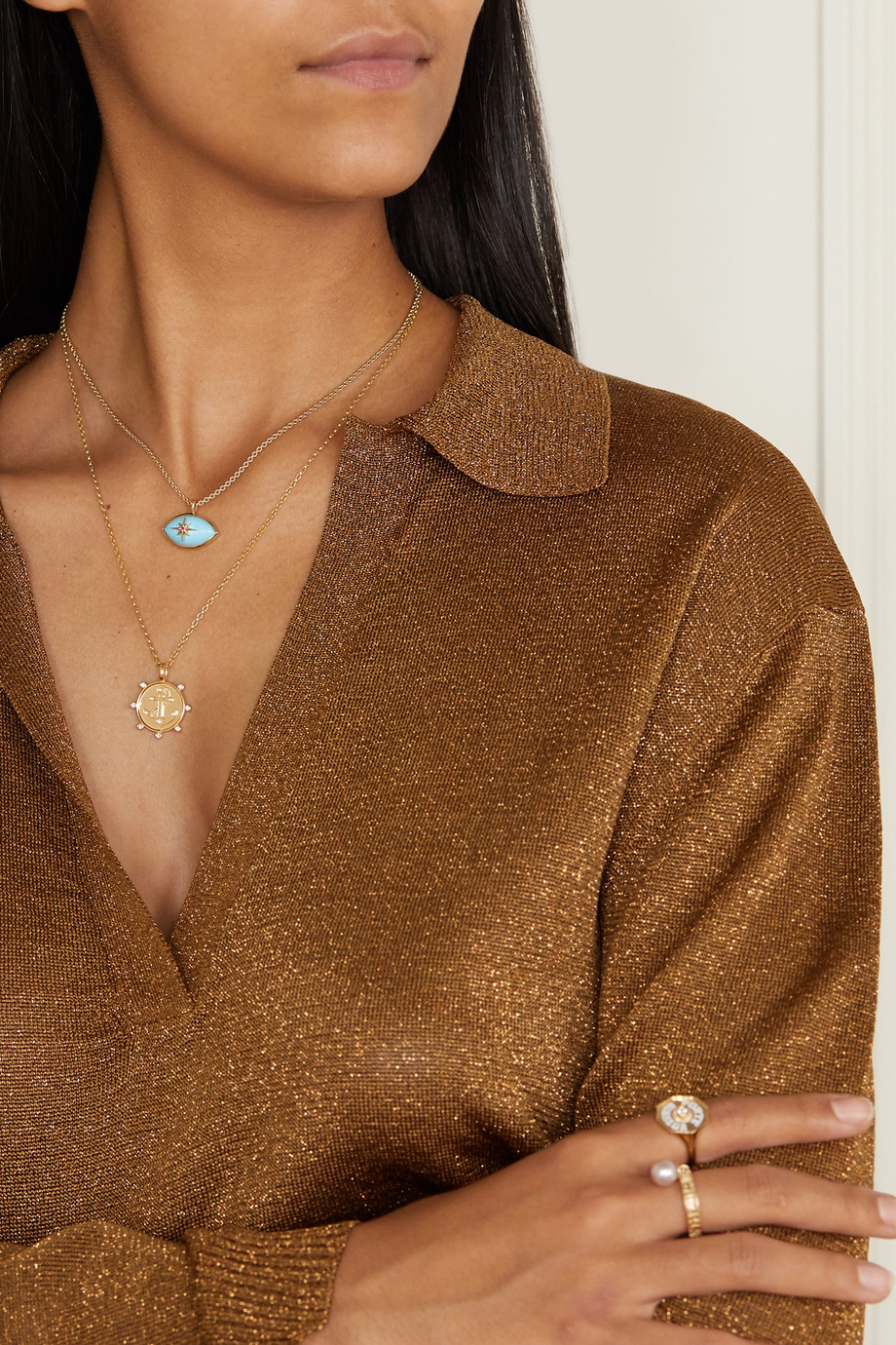 Marlo Laz Anchor 14-karat gold diamond necklace