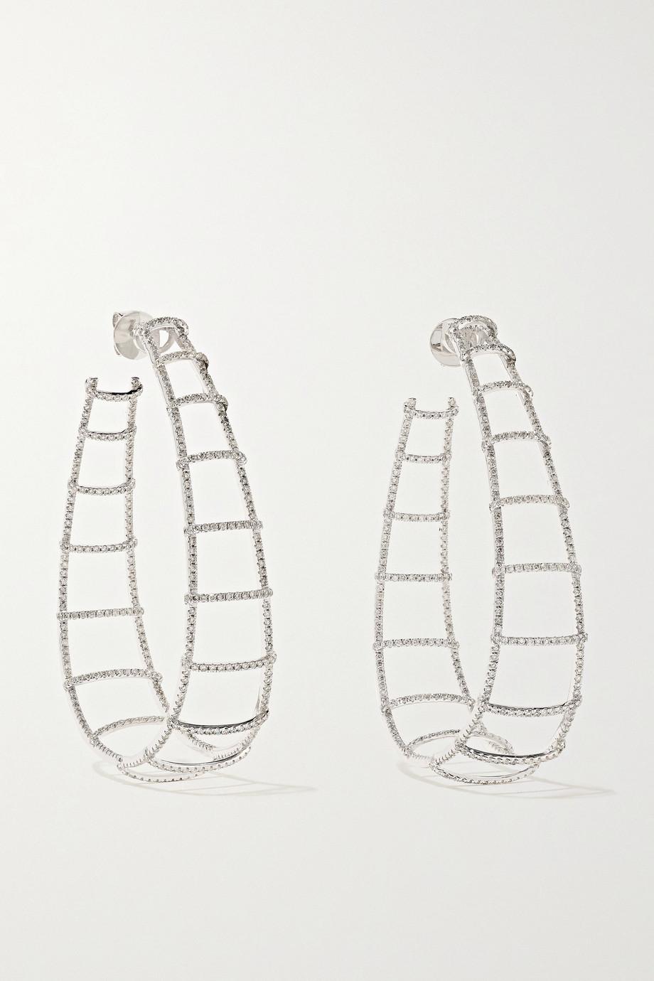OFIRA Ladder 18-karat white gold diamond earrings