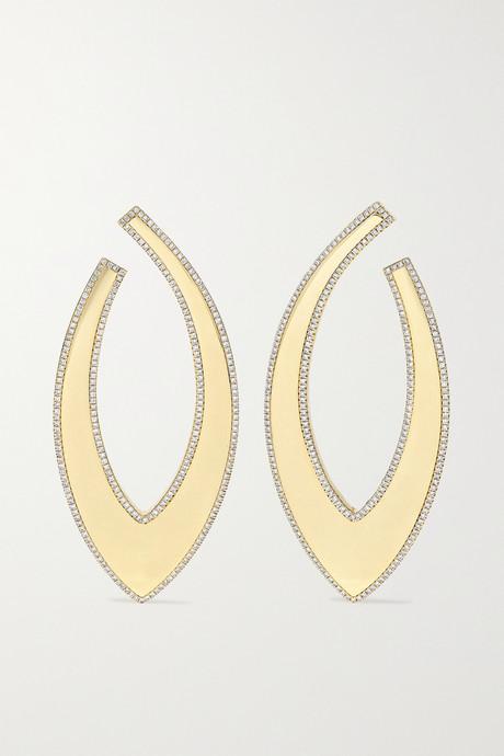 Gold Bevel 18-karat gold diamond earrings   OFIRA xJ85LI
