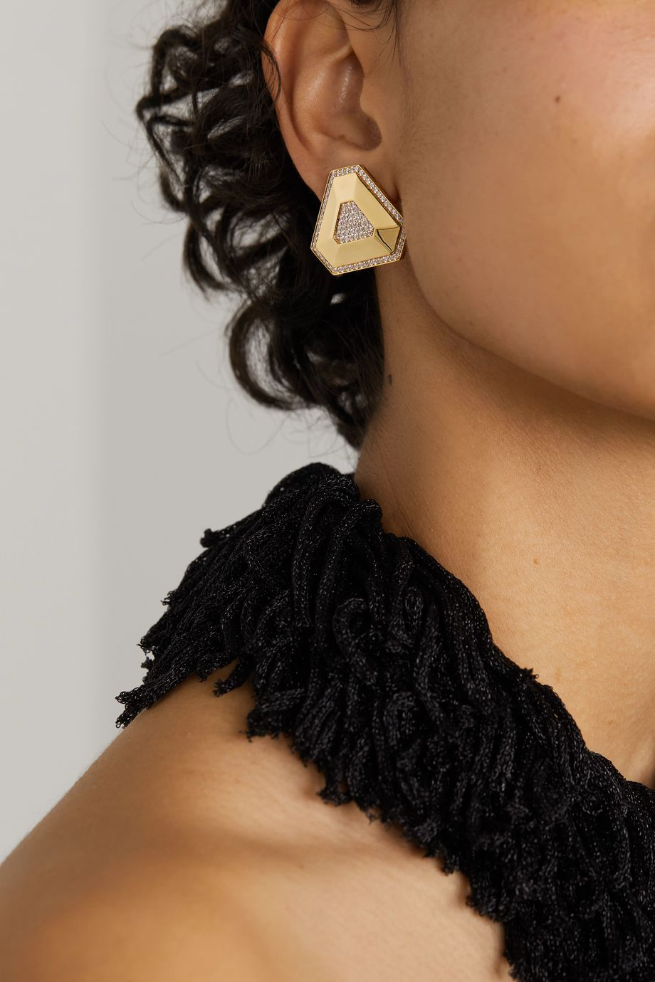 OFIRA Shield 18-karat gold diamond earrings