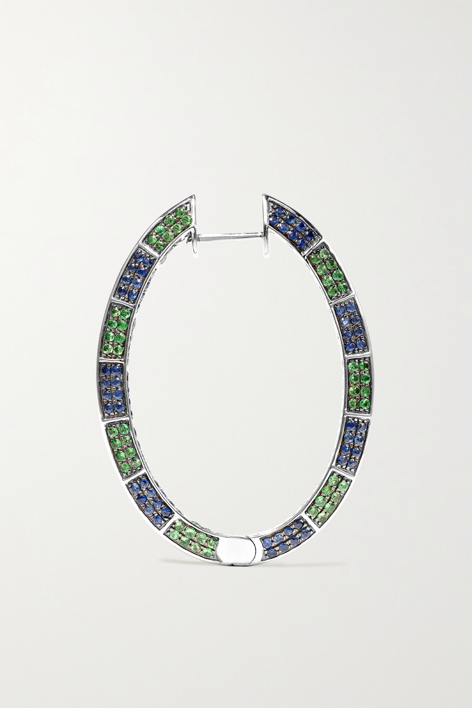 OFIRA 18-karat white gold, sapphire and tsavorite earrings