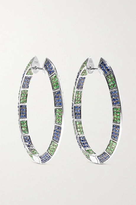White gold 18-karat white gold, sapphire and tsavorite earrings | OFIRA J5UgIa