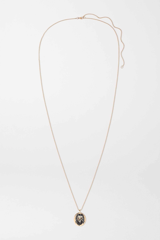 Diane Kordas - 18-karat rose gold, enamel, diamond and sapphire necklace