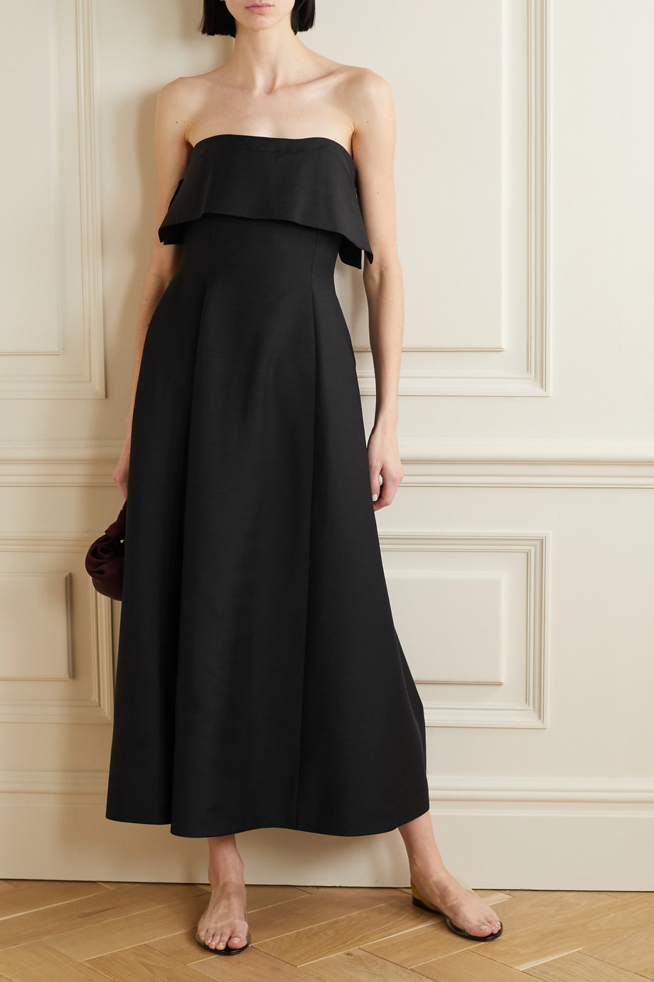 The Row Dario strapless mohair and wool-blend maxi dress