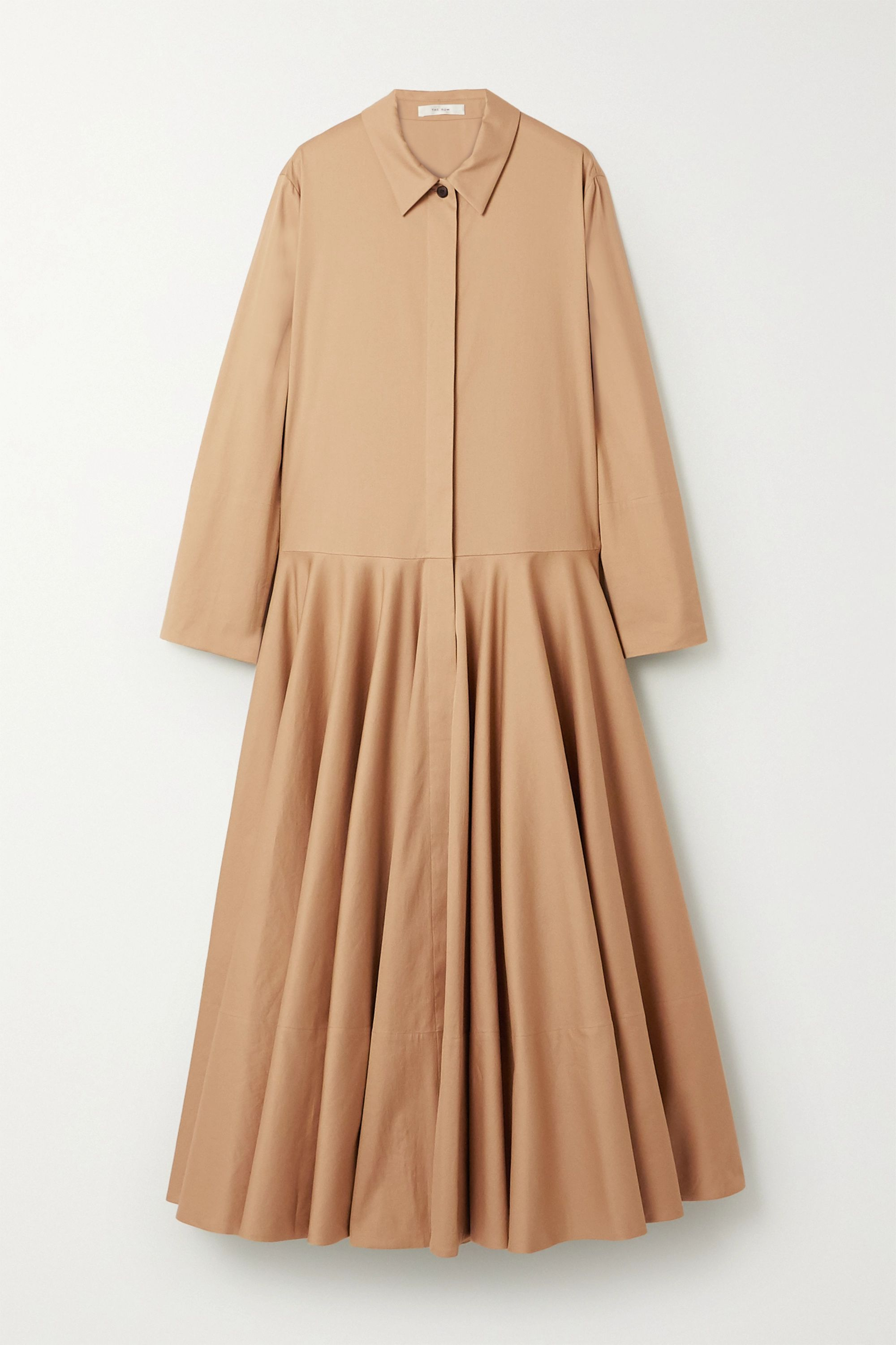 The Row Rey oversized pleated cotton-twill maxi dress