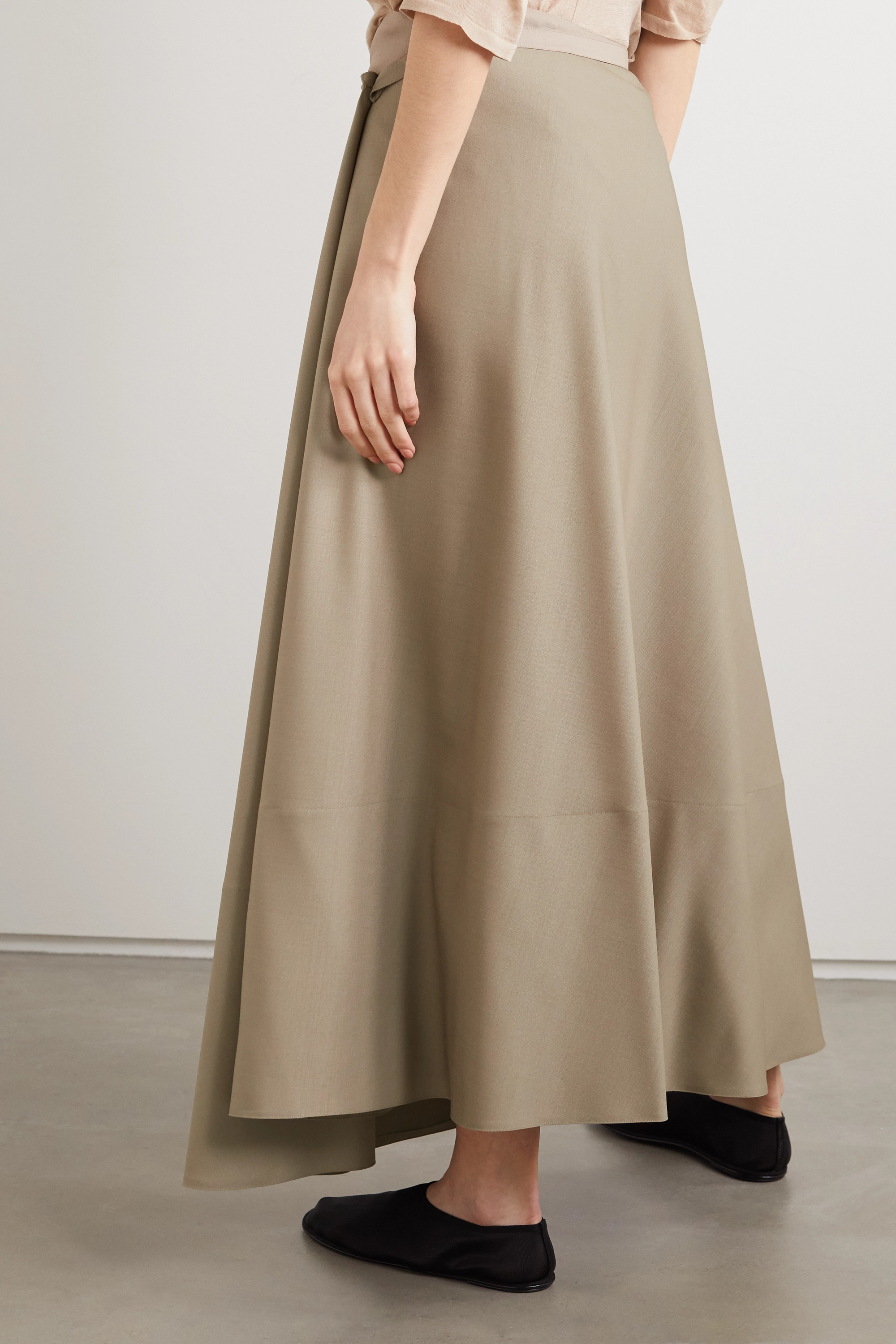 The Row Ava mohair and wool-blend wrap maxi skirt