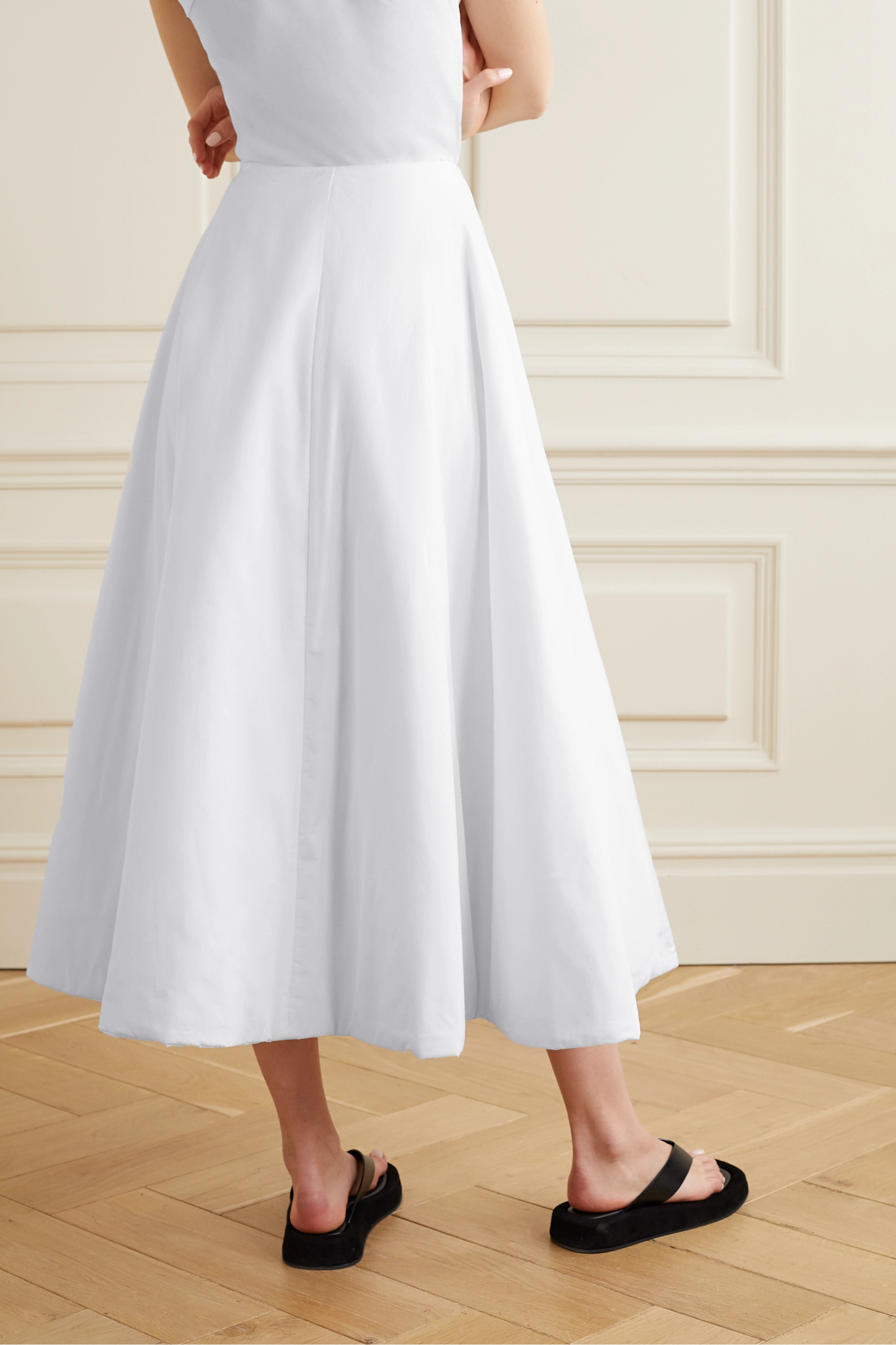 The Row Jaco padded cotton wrap midi skirt