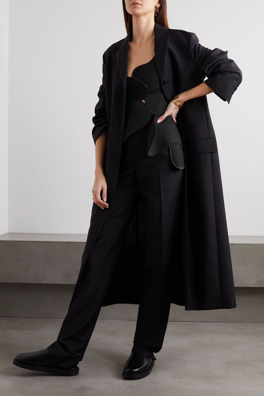 The Row Mica patchwork wool and silk-blend crepe, twill and velvet top