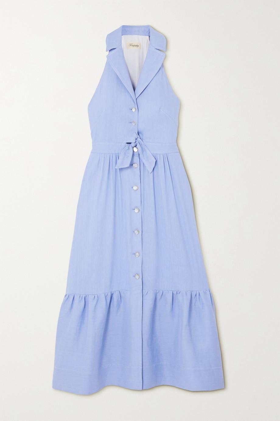 Temperley London | Sophia tie-detailed cutout tiered linen-blend dress  | NET-A-PORTER.COM