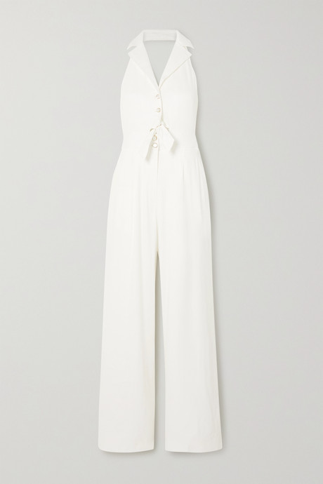 White Sophia tie-detailed cutout linen-blend halterneck jumpsuit | Temperley London fEV8LD