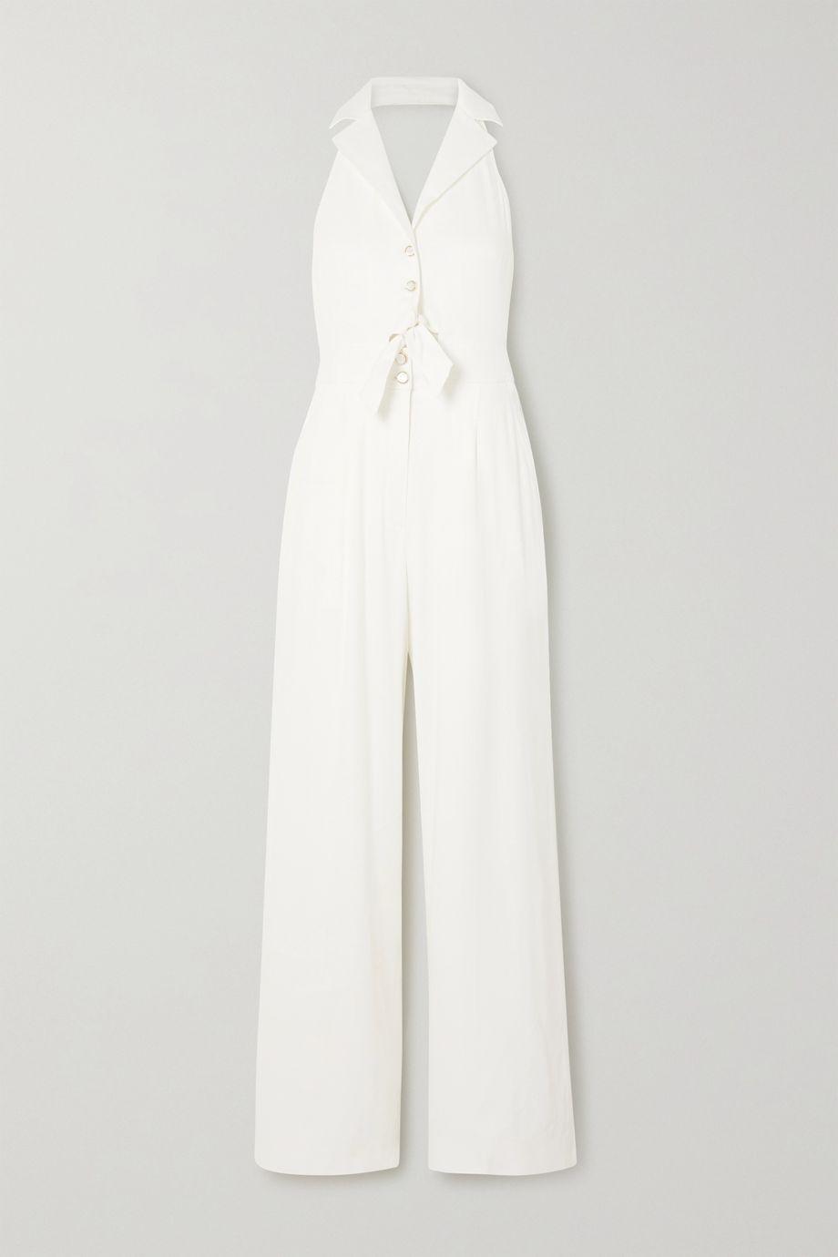 Temperley London Sophia tie-detailed cutout linen-blend halterneck jumpsuit