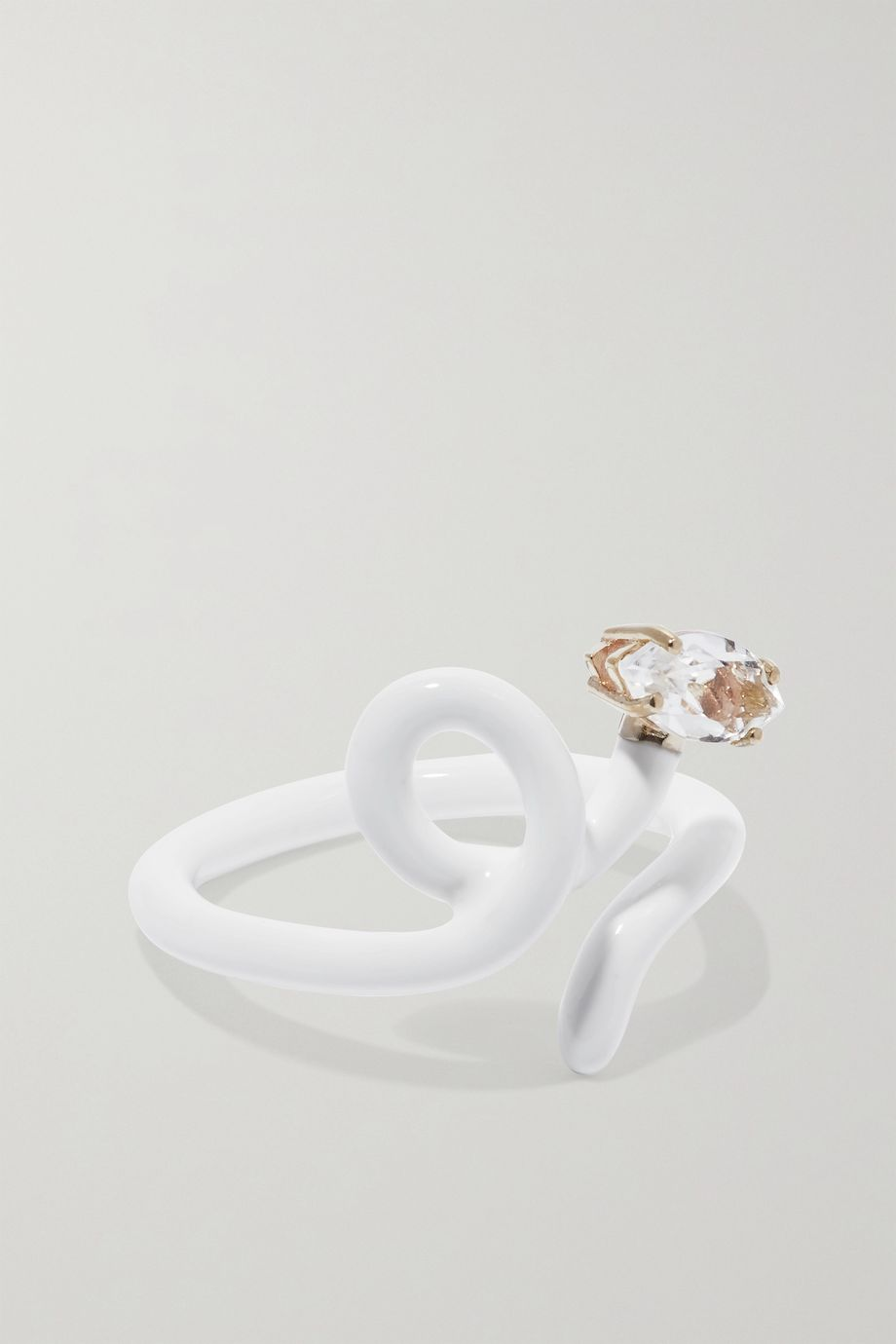 Bea Bongiasca Baby Vine Tendril enamel, gold and rock crystal ring
