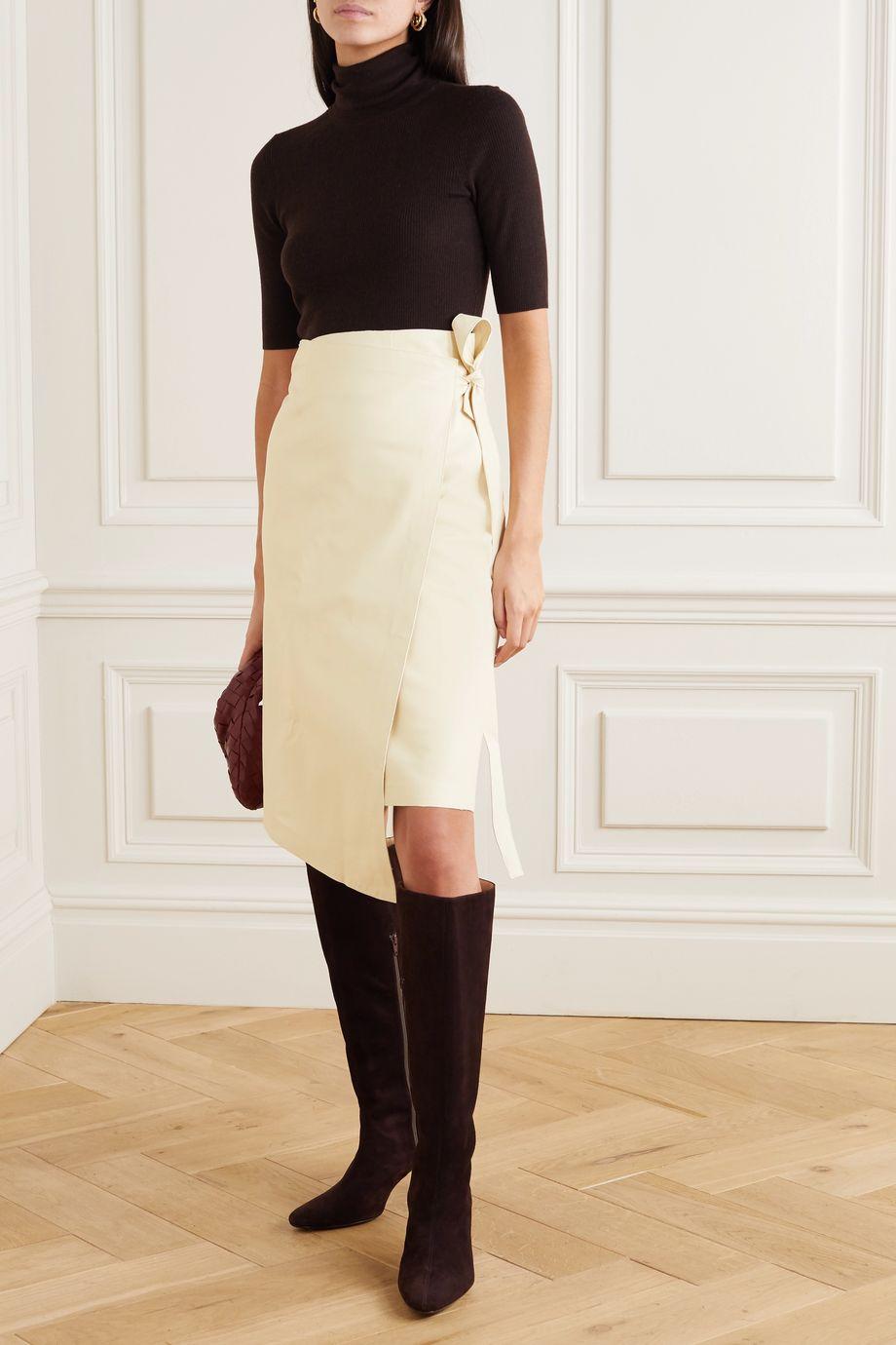 Envelope1976 + NET SUSTAIN Sarajevo leather wrap skirt