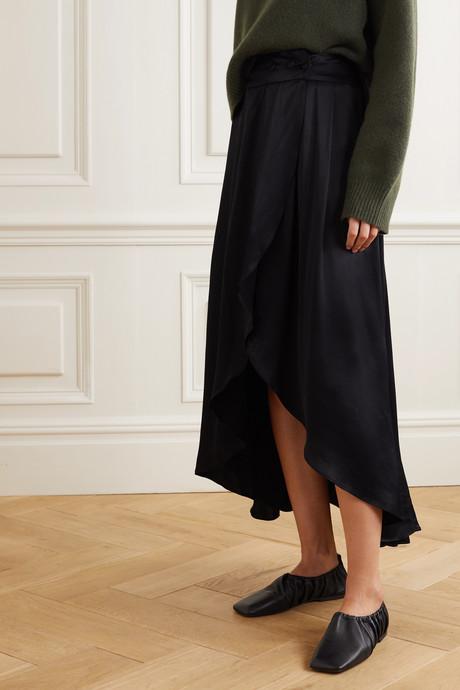 + NET SUSTAIN Seminyak asymmetric satin skirt