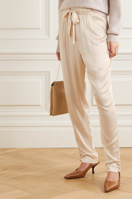 + NET SUSTAIN Goe textured-satin tapered pants