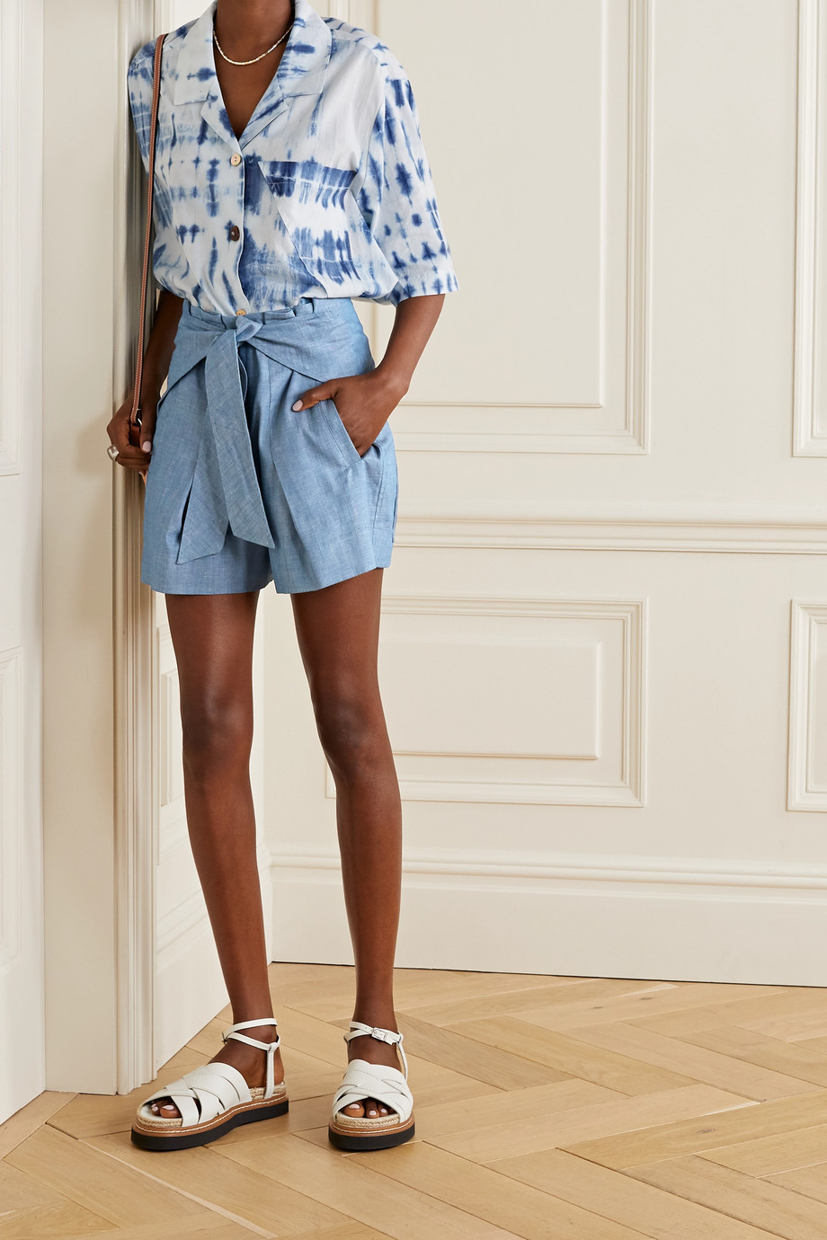 3.1 Phillip Lim Tie-front cotton-chambray shorts