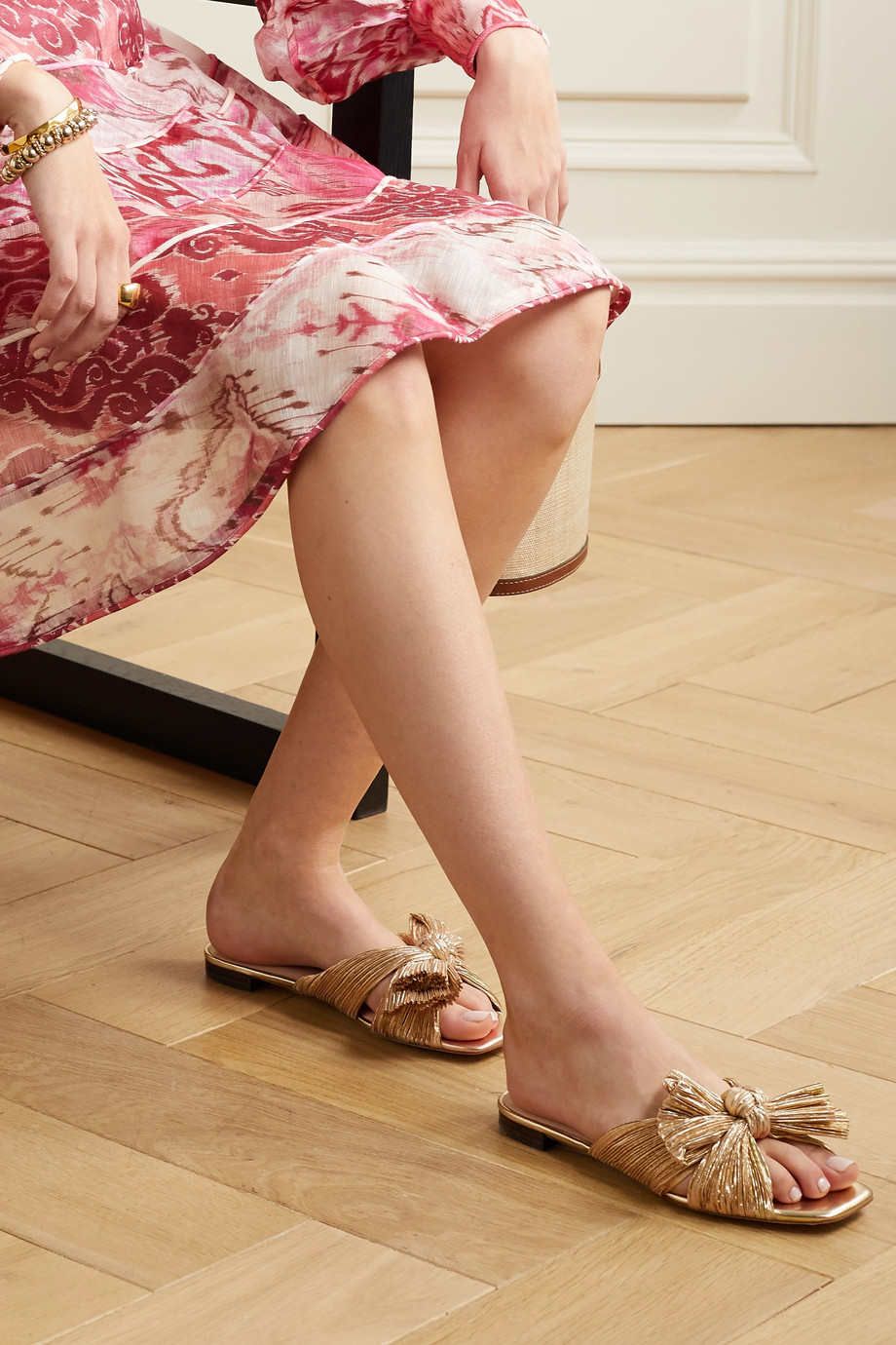 Loeffler Randall Daphne bow-embellished plissé-lamé slides