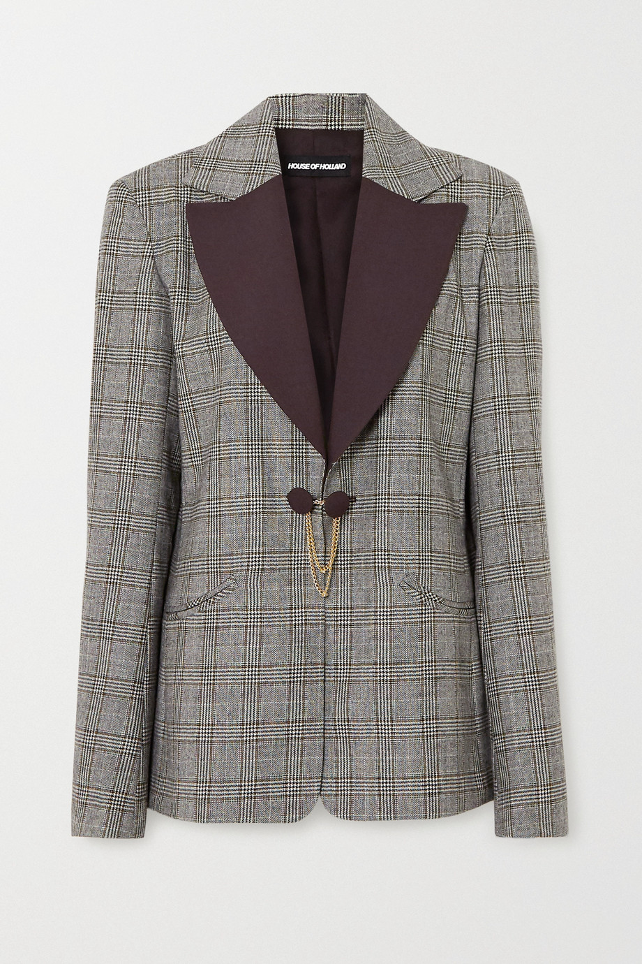 House of Holland Chain-embellished Prince of Wales checked wool blazer