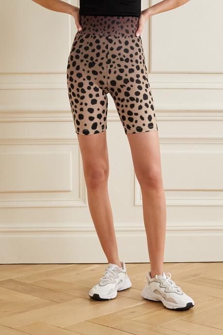 Cheetah-print stretch-jersey shorts