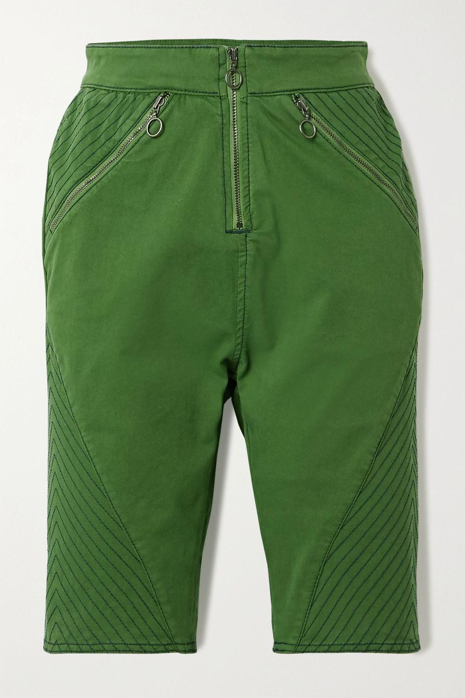 House of Holland Stretch-organic cotton twill shorts