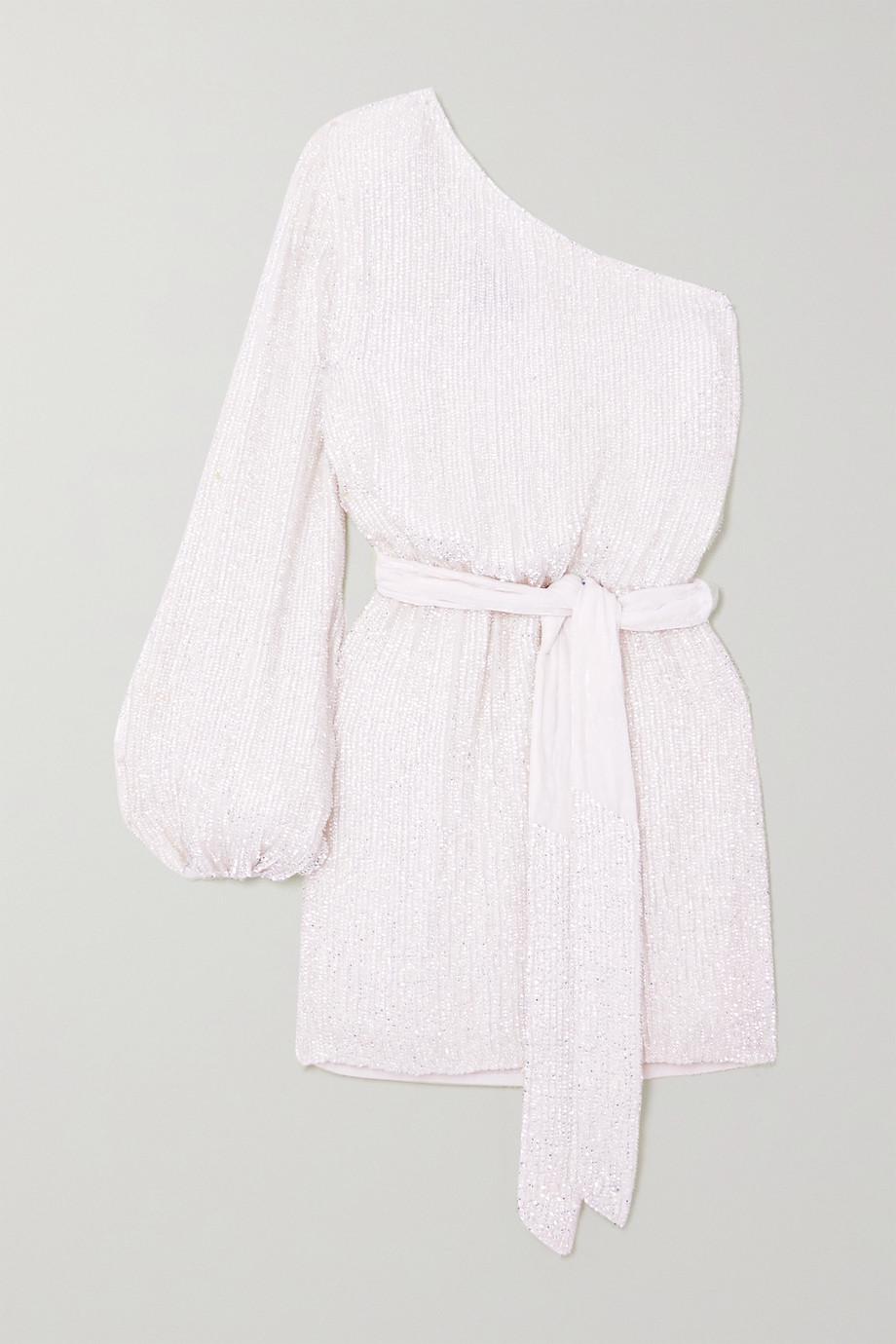 Retrofête Bridgette one-shoulder velvet-trimmed sequined chiffon mini dress