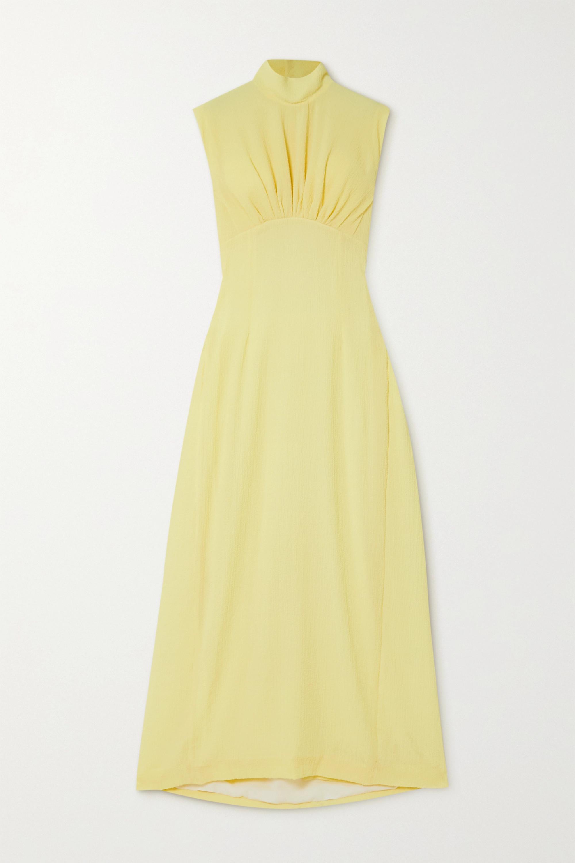 Emilia Wickstead Everly gathered cloqué turtleneck maxi dress